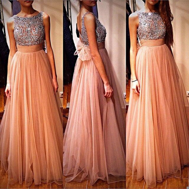 Abendkleider 2019 Beads O-Neck A-Line Long   Evening     dresses   Plus Size Backless Sleeveless Prom Gown Party   Dress   Vestidos de noite