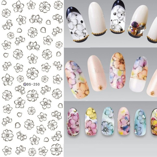 1 Sheet Flower Nail Art Stickers Water Decals Transfer Stickers ...