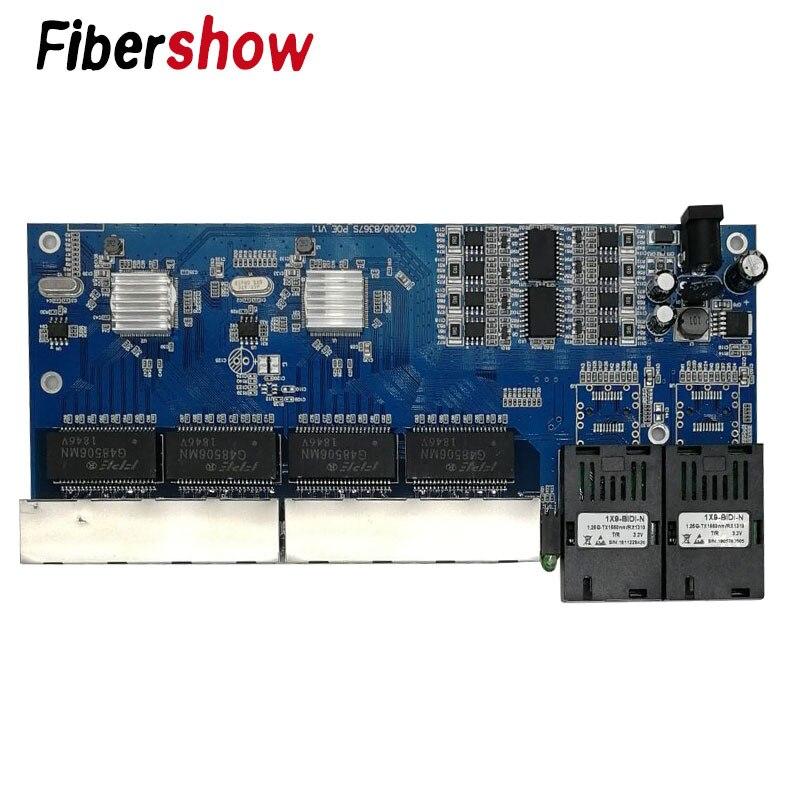 8 RJ45 2 SC POE Switch Fiber Gigabit Ethernet Switch Media Converter Fiber Optical Single Mode UTP Port 10/100/1000M PCB 3pieces