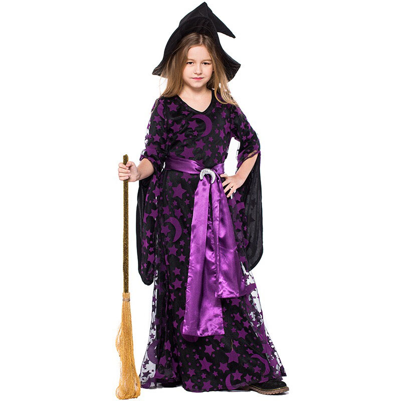 Teen Girls Halloween Magic Witch Costume Children Fancy Purple Dress Up Party Masquerade Sparkle Clothing Hat Set Gift For Kids