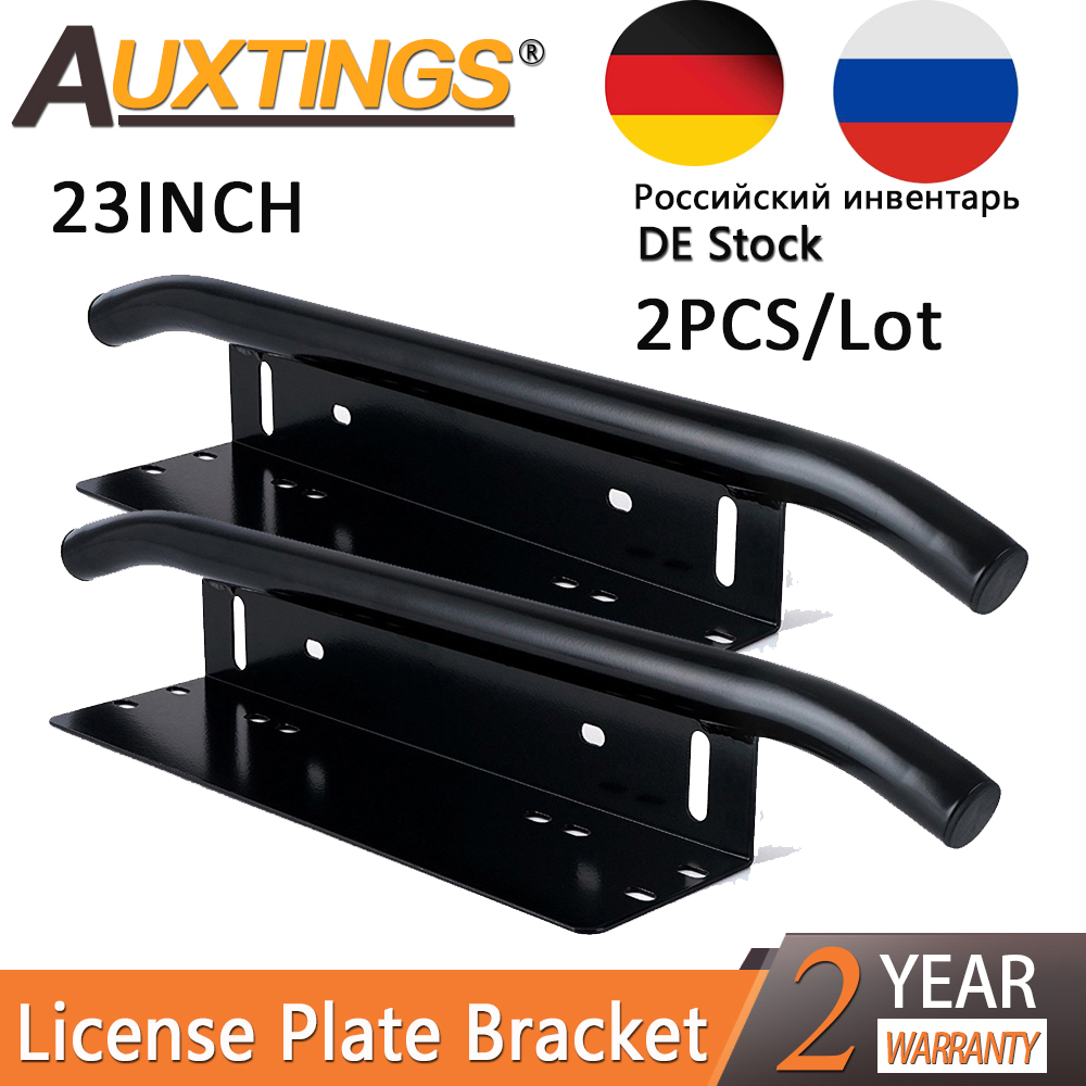 Auxting 2PCS 23INCH Black Bull Bar Front Bumper License Plate Mount Bar led work light Light