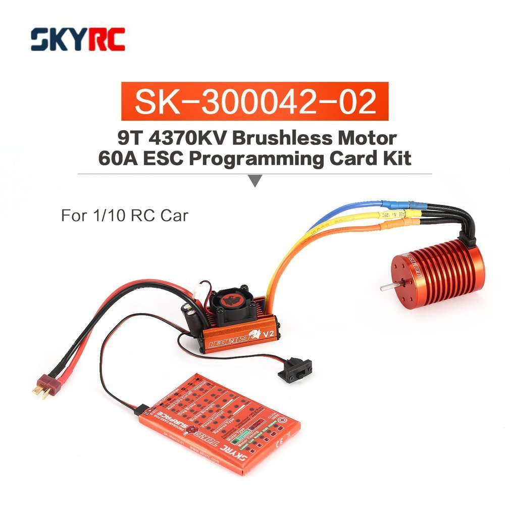 SKYRC SK-300042-02 9T 4370KV Brushless Motor 60A Brushless ESC Programming Card Combo Set for 1/10 RC Car Truck skyrc leopard 60a v2 esc brushless speed controller for rc 1 10 car truck