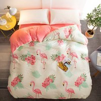 Fresh Style Flamingo Duvet Cover Twin Full Queen King Size A Cotton B Flannel/Crystal velvet Duvet Cover Pink white 1pcs Bedding