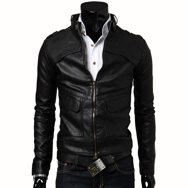 High Quality Fashion Motorcycle Windbreaker Winter Coat Zipper Closure Turn Down Collar Short No Hooded Black Leather Jacket