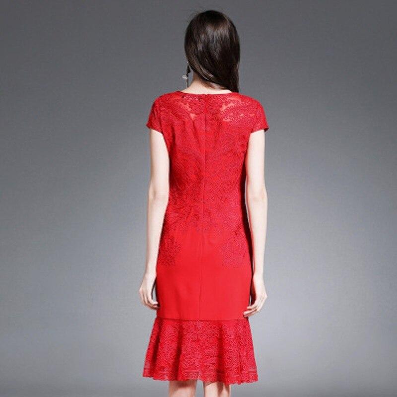 Qualité M Xxxl Nouvelle Femmes Rouge La Bureau Vintage Broderie Taille Élégant Printemps 2018 Supérieure L Plus Travail Sirène Robe Été qapxIw