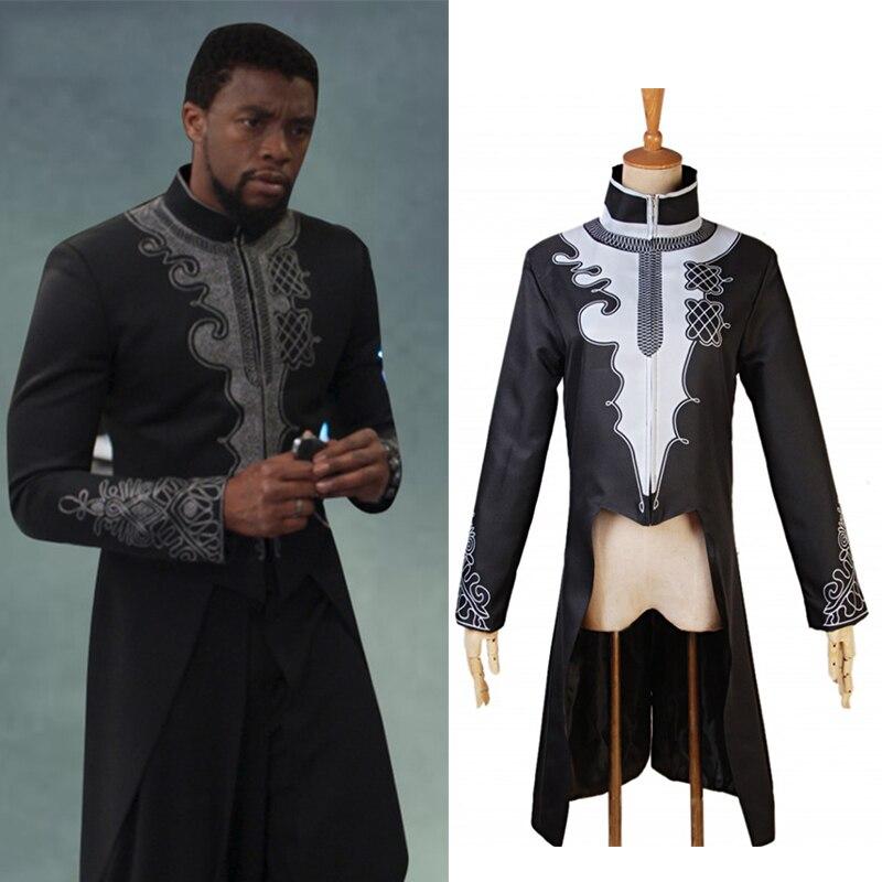Movie Black Panther Jacket Cosplay Costume Superhero Coat T'Challa Black Jacket Halloween Fancy Clothes Carnival Suit Adult Men
