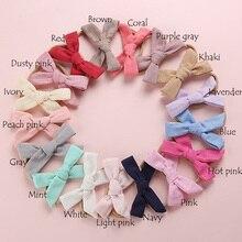 17 pcs/lot , Hand Tied Linen Hair Bow Nylon headband or hair clips, Spring Fabric Bow Headbands, Baby Shower Gift