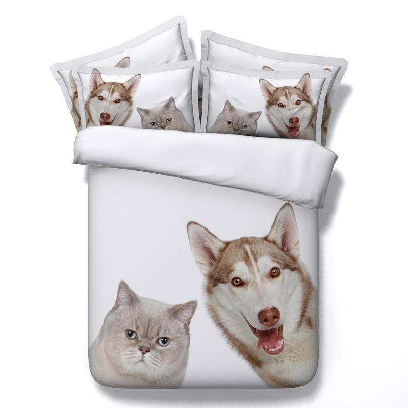 Animaux imprimé chien chat blanc couette couvre 3d linge de lit double reine roi taille adulte literie ensemble décor à la maison taies d'oreiller