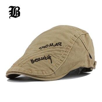 FLB  moda boina sombrero gorra de algodón sombreros para hombres y mujeres  viseras sombrero de sol Gorras boinas Planas gorras planas ajustable 696765abf10