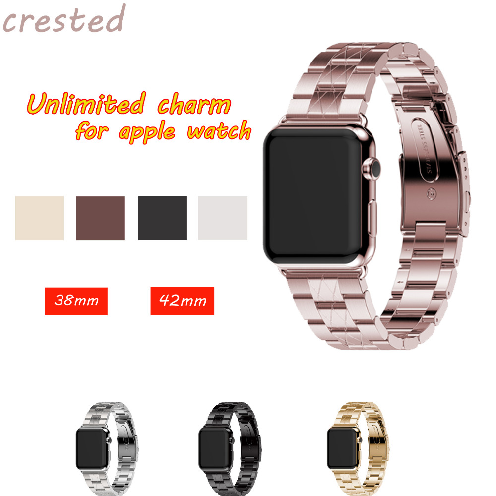 CRESTED Stainless Steel watch band strap For Apple Watch band 42mm 38 for men & women Link Bracelet Watchbands For iWatch 1/2/3 crested stainless steel watch band strap for apple watch 42 mm 38 mm link bracelet replacement watchband for iwatch serise 1 2