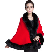 new Winter Womens Leather Grass Fox Fur vest Collar poncho with fur Wedding Dress Shawl Cape Lady Wool Vest Fur Coat shawl collar plunging cape dress
