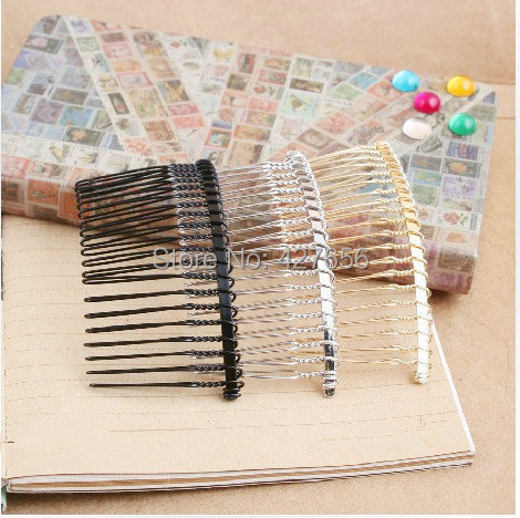 100pcs Silver tone Black Golden Smooth Sideway Braided Hair Comb Charm Finding 20pcs Teeth DIY Accessory