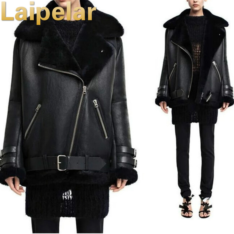 Lapel faux fur   leather   jacket coat Winter Motorcycle faux   leather   jacket Laipelar Winter Fashion outwear short jacket overcoat