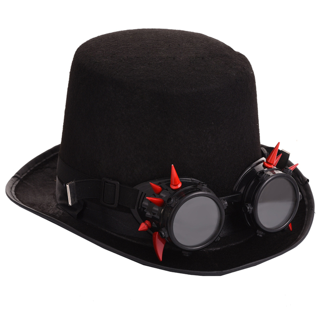 57191ec5f7d Black Fedora Steampunk Victorian Top Hat For Women Men Steam Punk Glasses  Hat Millinery Steampunk Goggles Party Accessories