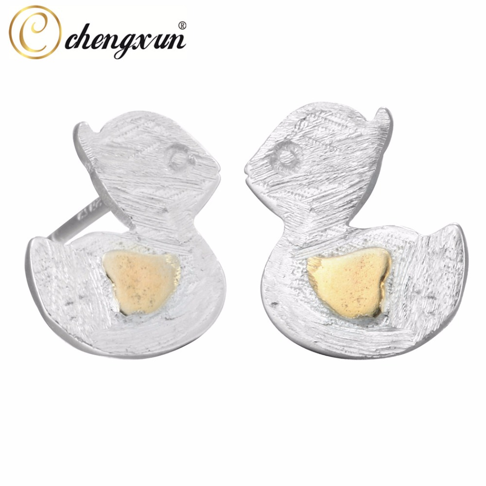 Chengxun Yellow Wings Cute Swimming Duck Animal Silver Stud Earrings For  Kids Girls(china (