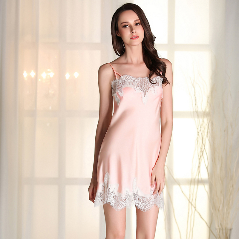 Ladies Sexy Silk Satin   Nightgown   Lace   Sleepshirt   Sleeveless Nighties Summer Night Shirt Fashon Home Dress Night Dress For Women