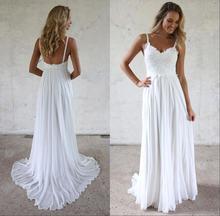Романтическое пляжное белое простое свадебное платье es 2019