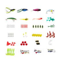 JSFUN 147Pcs/set Fishing Lure Kit All Water Mixed Soft Lure Frog Lure Spoon bait Fishing Tackle Accessories In storage box FU261