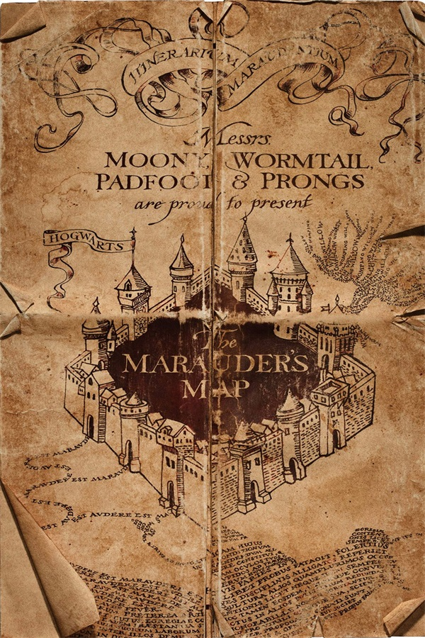 Custom Canvas Art Harry Potter Poster Harry Porter Map Wall Stickers Wizarding The Marau ...