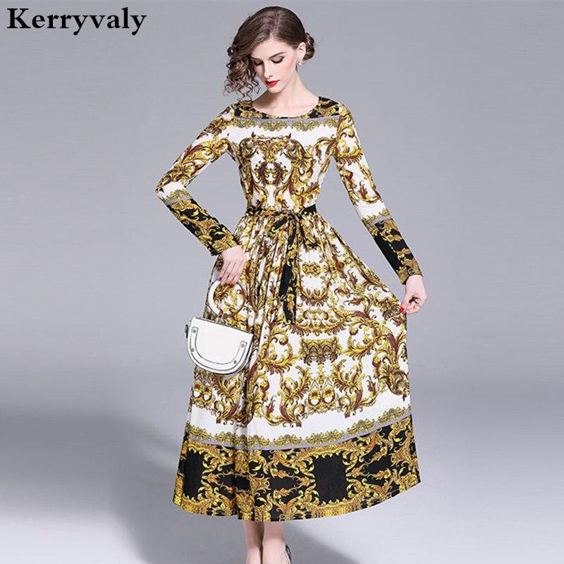 Autumn Retro Print Flower Maxi Dress Robe Femme Hiver 2018 Long Sleeves Long Party Runway Dress Vestido Longo K8816