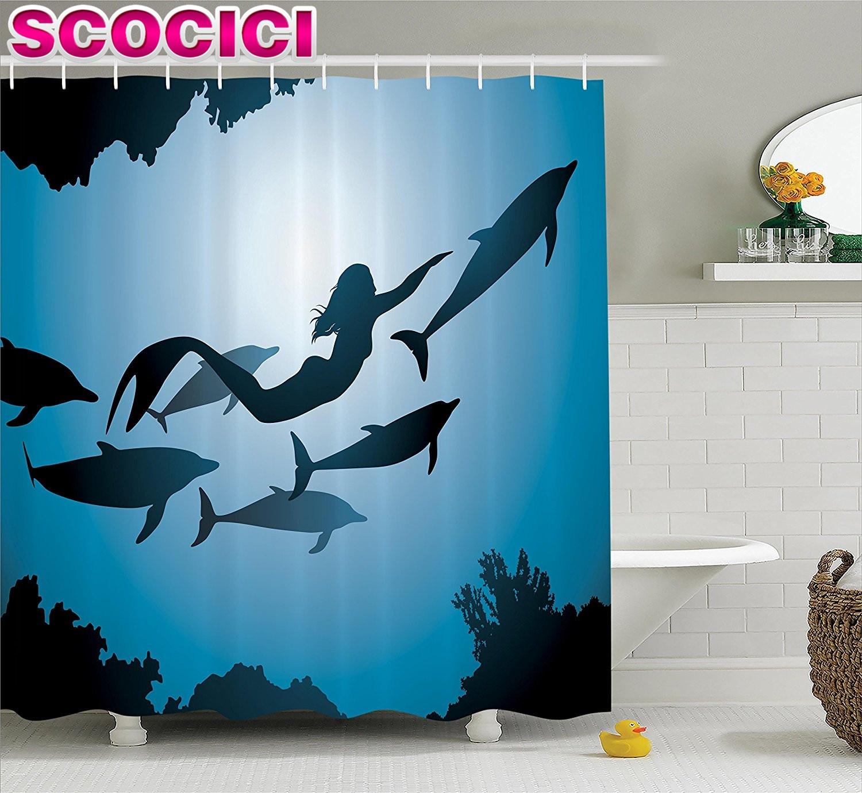Mermaid bathroom accessories - Mermaid Decor Shower Curtain Set The Mermaid And Dolphins Underwater View Friendship Travel Diving Fin Sea Bathroom Accessories