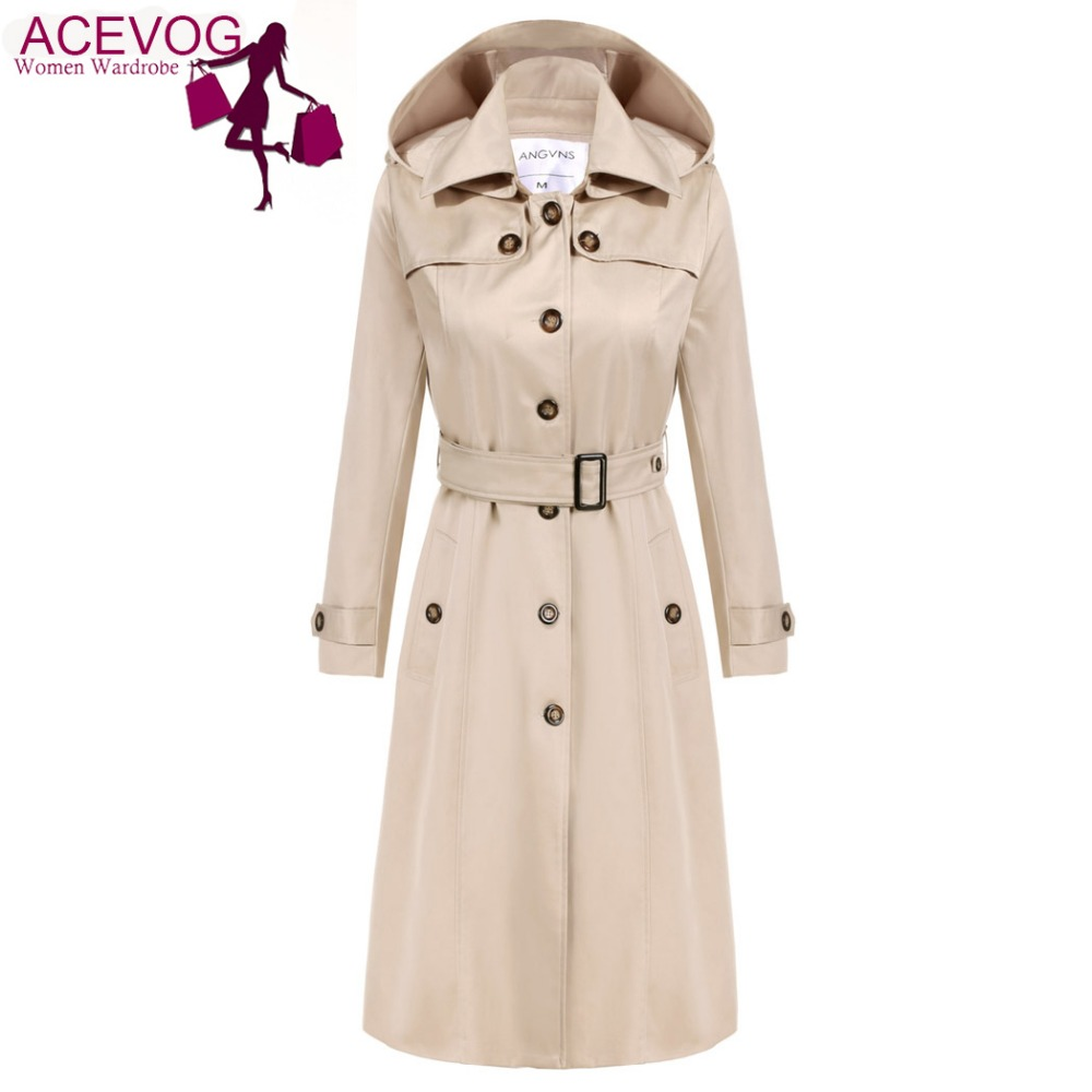 ACEVOG Trench Coat Mulheres Longas Hoodies Das Senhoras OL Manga Comprida Único Breasted Outono Inverno Trench Coat Outerwear Blusão