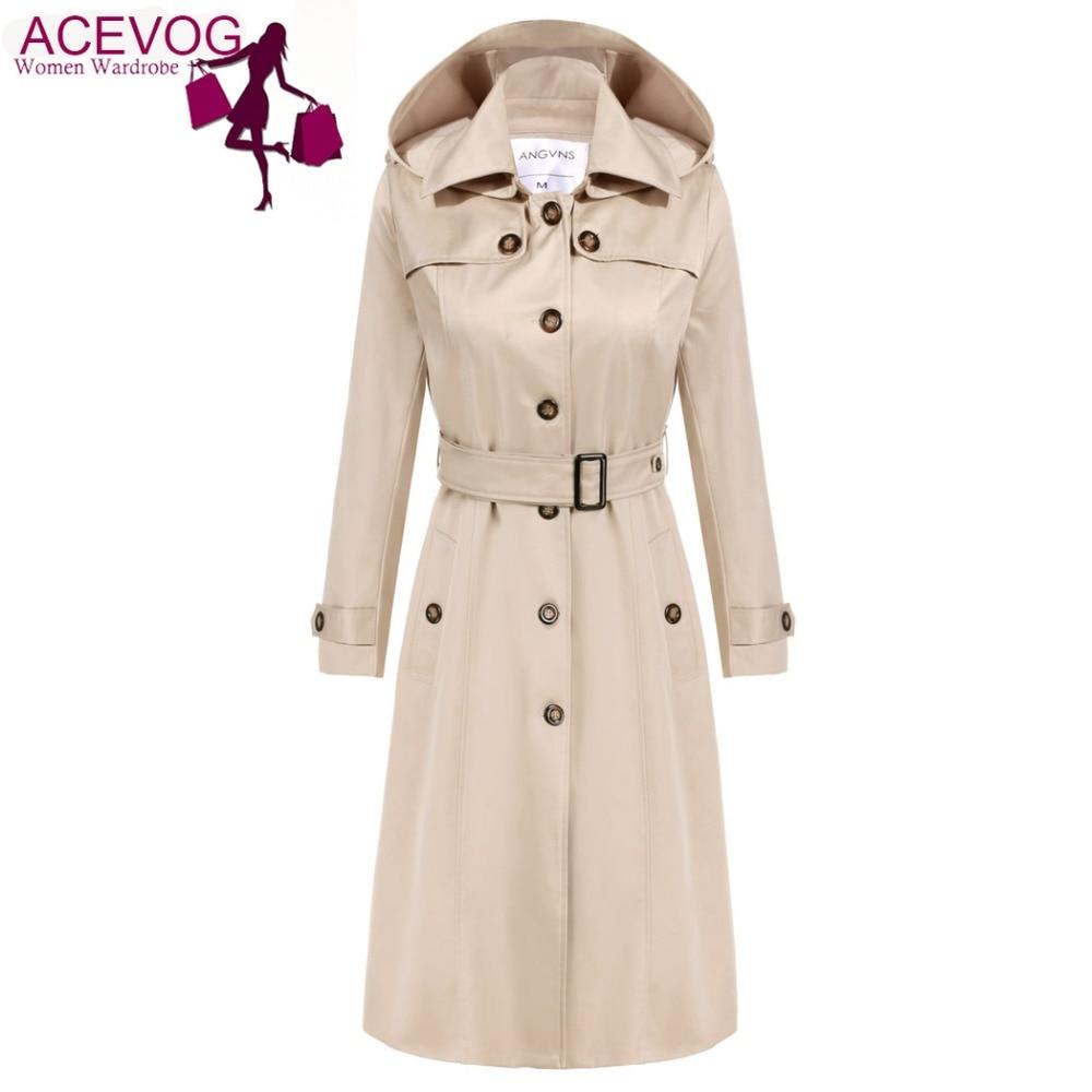 ACEVOG Trench Coat Women Long Hoodies OL Ladies Long Sleeve Single Breasted Autumn Winter Trench Windbreaker