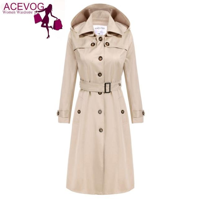Acevog gabardina larga de las mujeres hoodies señoras ol de manga larga de un solo pecho otoño invierno trench cazadora de abrigo