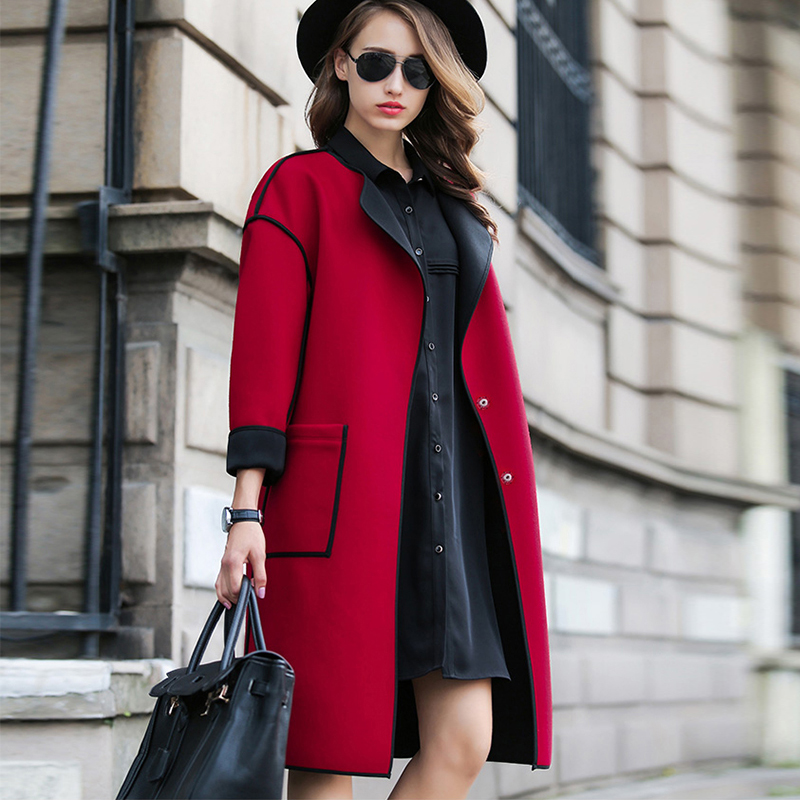 2019 Spring Autumn Winter New Fashion Coat Women Casual Elegant Office Loose Long Wool Blends Outerwear