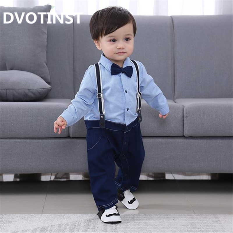 Dvotinst Baby Boy Clothes Full Sleeves Gentleman Bow Tie Romper Outfit Bib Pants Infant Toddler Wedding Jumpsuit Birthday