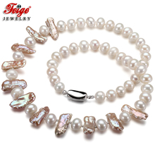 FEIGE New Design Pearl Necklace Genuine 8-9mm Multicolor Freshwater Pearl Choker Necklace for Women Fashion style Pearl Jewelry lace faux pearl design flower shape choker necklace