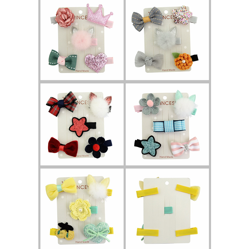 5Pcs/set Hot Sale New Hair Accessories Baby Girl Hair Clip Rabbit Ear Bow Flower Mini Barrettes Star Kids Infant