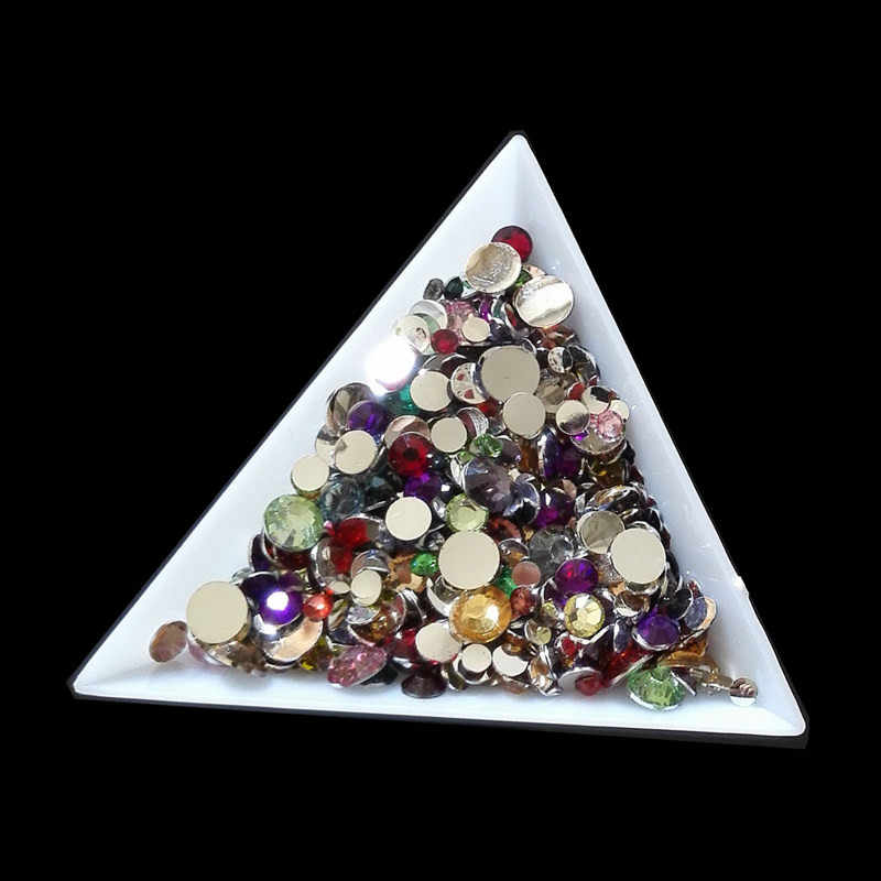 100pcs/lot Crystal mix Color mix size Nail Art Rhinestone Flatback Non Hot Fix mix Rhinestones For Fashion decoration Nail Art