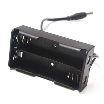 Wholesale 100Pcs/Lot DIY Clip Holder Container 18650 Battery Case Box Holder for 2x 18650 With 5.5*2.1mm DC Power Plug
