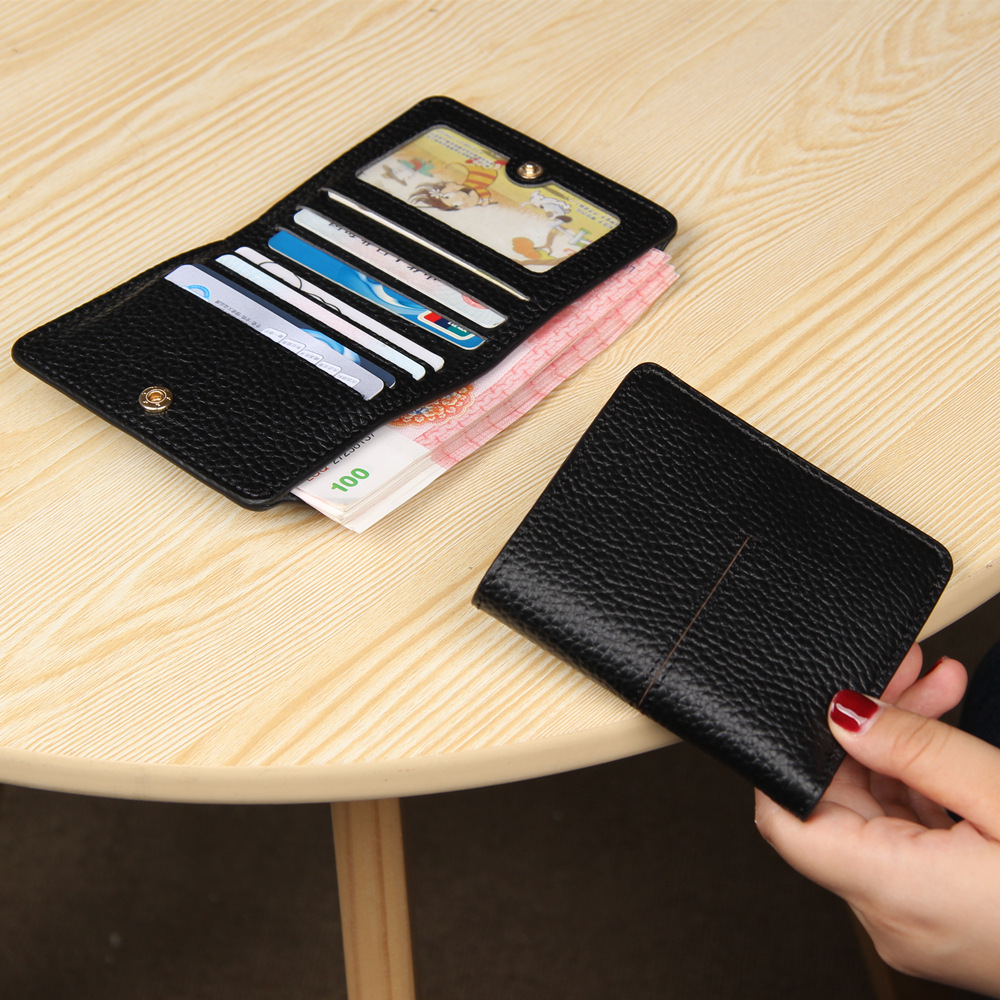 Andralyn Minimalist Bifold Natural Leather Wallet Women Genuine Leather Buckle Thin Multi-card Slot Short Wallets High Quality