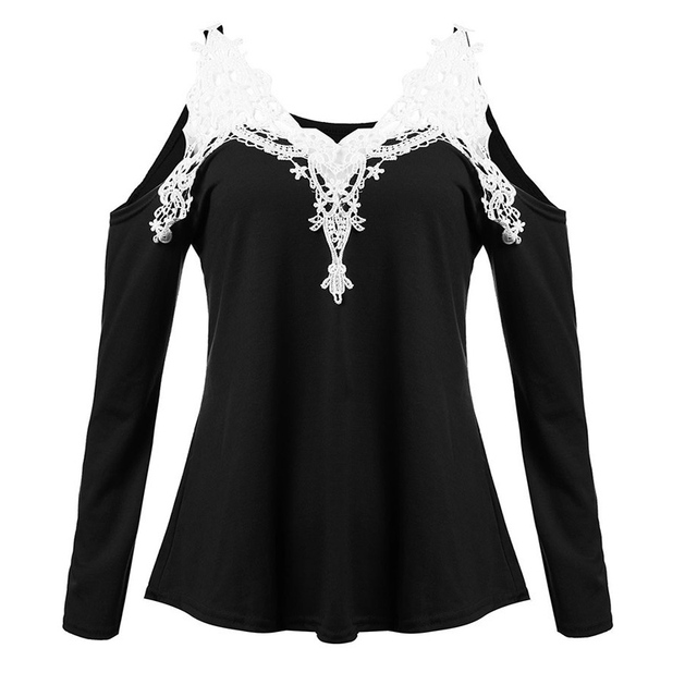 Z&KOZE Newest Fall Women Blouses Lace Sexy Strapless Hollow Out Blusas V-Neck Long Sleeve Tops Elegant Shirt Plus Size 5XL