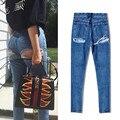 Foremode desgaste das mulheres de cintura alta e cultivar a moralidade da moda Estalo rua Super Sexy Orvalho Nádegas Buraco Em Um Cowboy calças