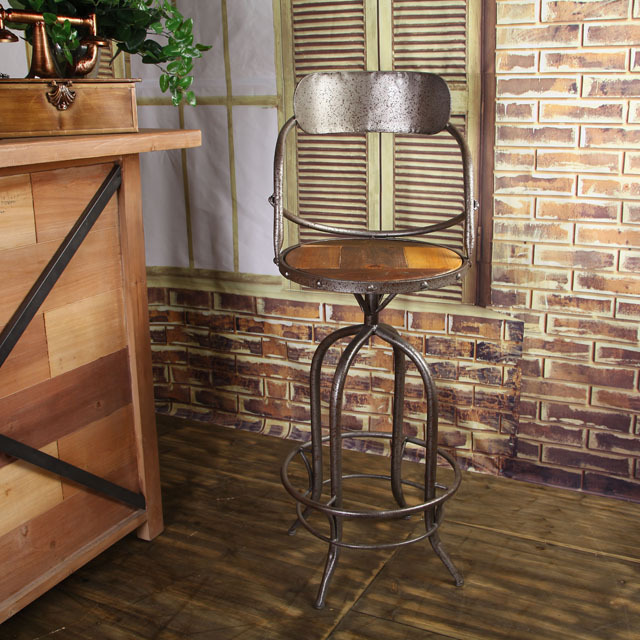 Peachy American Country Style Wood Plane Rotating Back Iron Bar Caraccident5 Cool Chair Designs And Ideas Caraccident5Info