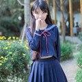 2017 nueva escuela jepanese niñas lindo traje de marinero cosplay costum uniforme dress conjuntos gilr algodón paño de las mujeres uniformes