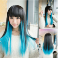 Harajuku Long Ombre Natural Straight 70cm Black Mixed Blue Synthetic Cospaly Wig Hair Party Halloween Wigs With Neat Bangs