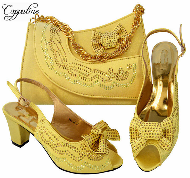 Capputine Nice Design Yellow Italian Shoes With Matching Bags Latest Rhinestone African Women Party Shoes and Bags Set  MM1046 stylish women s satchel with rhinestone and rivet design