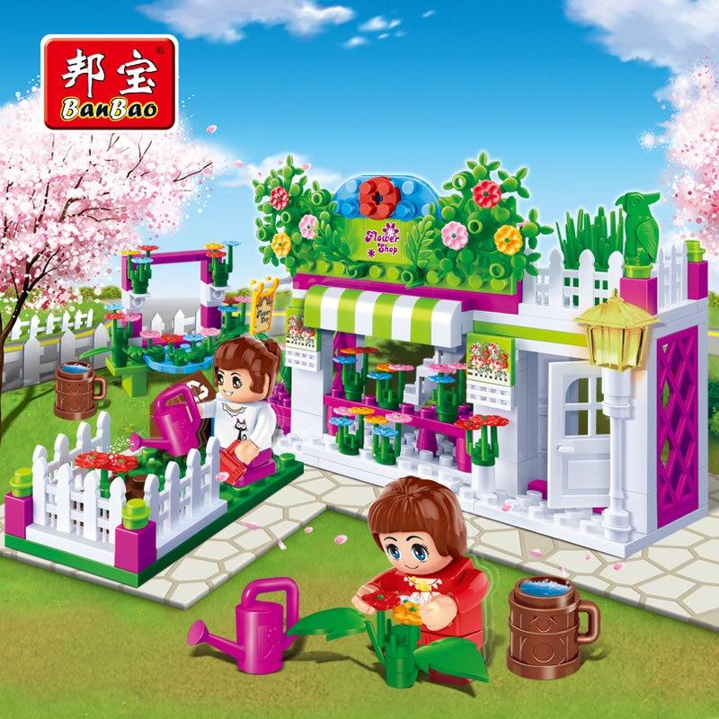BanBao Girls Educational Building Blocks Toys For Children Kids Gifts City Friends Pink Flower Shop House Garden dayan gem vi cube speed puzzle magic cubes educational game toys gift for children kids grownups