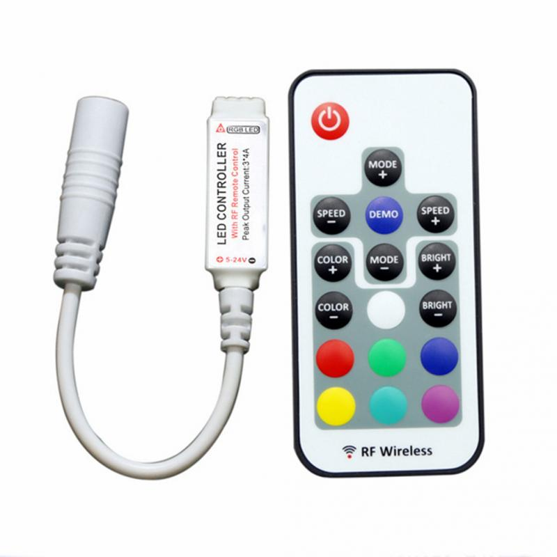 1pc Mini Colorful Rf17 Key Remote Control Rf 433 Rgb Light With Light Bar Led Controller Lighting Accessories
