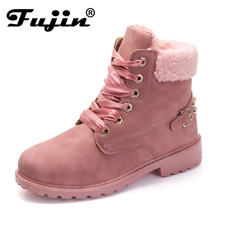 Fujin New Pink Women Boots Lace up Solid Casual Ankle Boots Martin Round Toe Women Shoes winter snow boots warm british style free shipping 2016 new winter women snow boots plus size 34 43 round toe lace up warm sweet pink martin boots boty