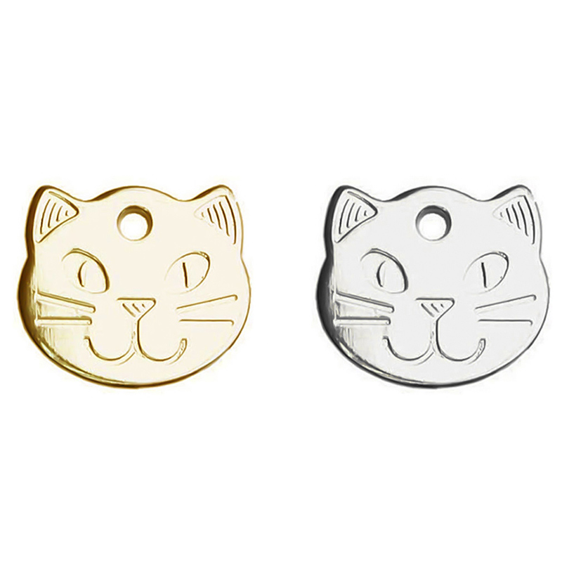 Anti-lost Cute Cat Head Shape Pet ID Tag Metal Pets Cat ID Name Tags Cat Collar Pendants Accessories image