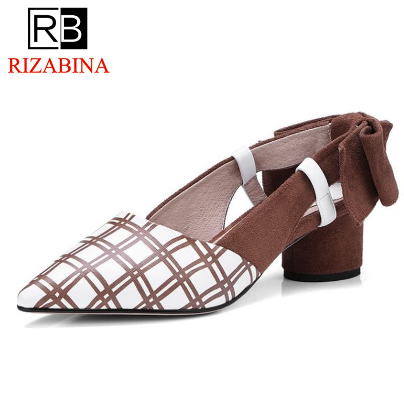 RizaBina Office Lady Real Genuine Leather High Heel Shoes Woman Bowtie Plaid Thick Heel Pumps Daily Women Footwear Size 34-39