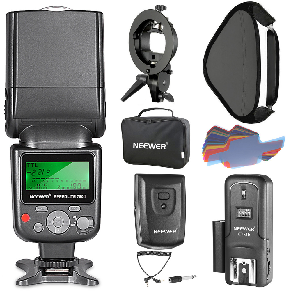 Neewer 750II TTL Flash Speedlite Kit for Nikon DSLR Cameras Flash Light CT-16 Wireless Trigger and Softbox with S-type Bracket aputure 16 channel flash speedlite