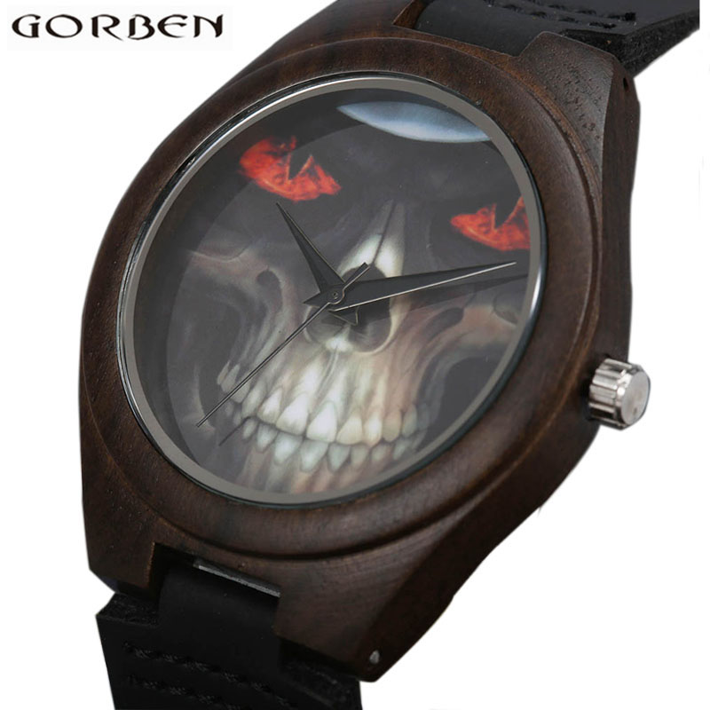 GORBEN Fashion Black Skull Pattern Wood Watch With Leather Strap Band Unique Creative Design Analog Quartz Wristwatch For Men