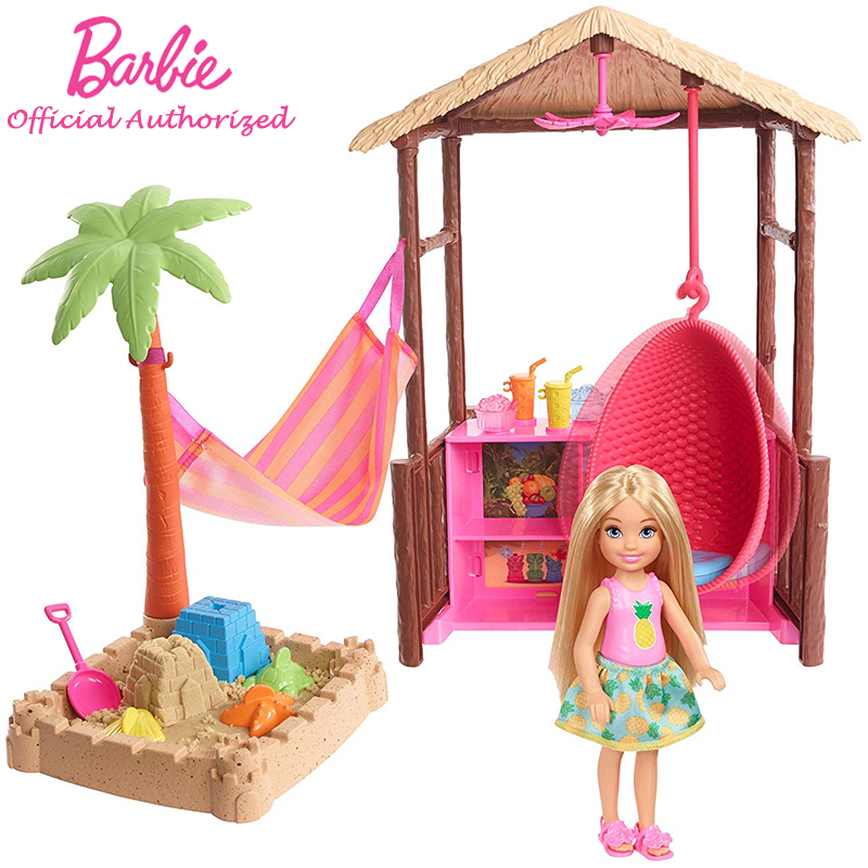 Barbie Doll Toy Chelsea Doll Tiki Hut Beach and Sand Accessories Mini Doll Set Thatch Roof ceiling Fan Funny Barbie FWV24