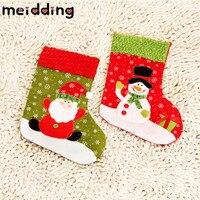 MEIDDING 12 adet Büyük Yılbaşı Çorap Noel Baba Snowman Çocuk Şeker Çerezler Hediyelik Çanta Yeni Yıl Yılbaşı Parti Malzemeleri